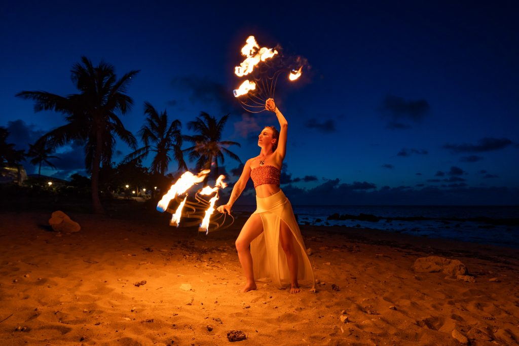 Fire Dancer on Beach - CoralFire