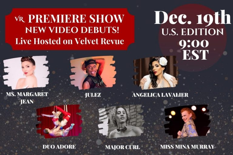 This image shows the Artist lineup for the livestream premiere show featuring burlesque performances and live hosts.