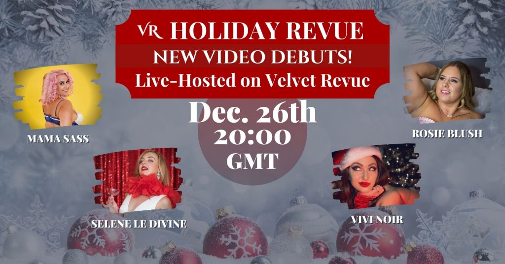 The artist lineup for the Holiday Revue: Euro Edition featuring burlesque performers.