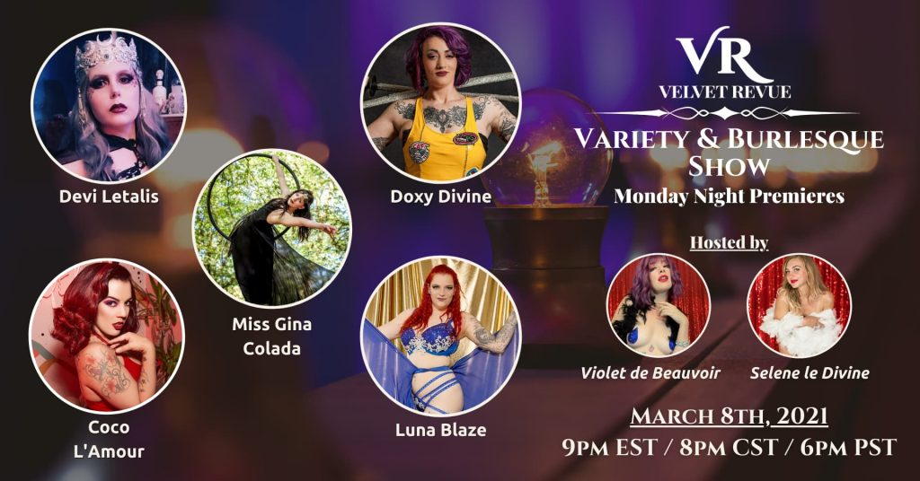 March 8th, 2021 Variety & Burlesque Show Poster
